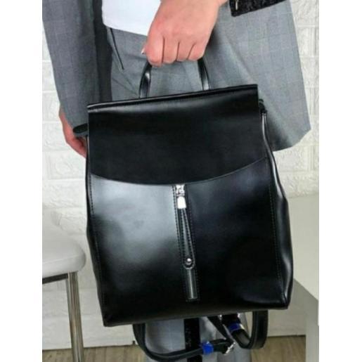 Городской женский рюкзак черного цвета из натуральной кожи