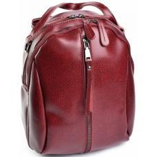 Молодежный рюкзак из натуральной кожи красный