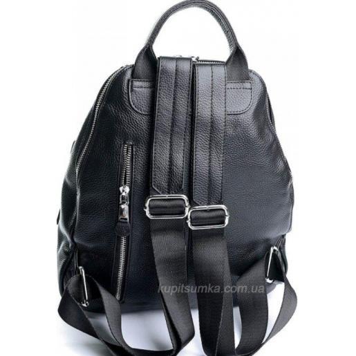 Городской женский рюкзак из натуральной кожи Чёрный