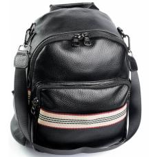 Женский кожаный рюкзак DO658 черный