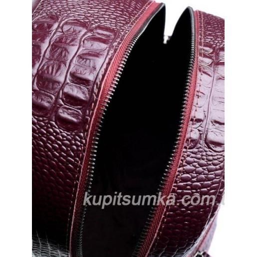 Рюкзак из натуральной кожи с тиснением под крокодиловую кожу Бордовый