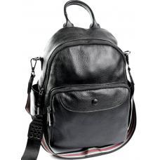 Кожаный женский рюкзак черный 11D23-734