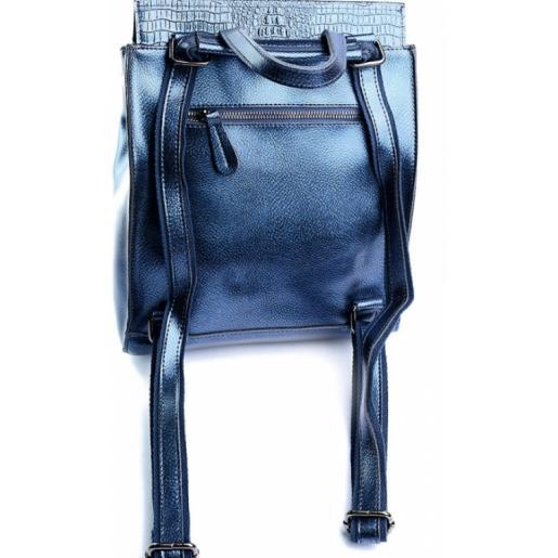 Молодежный кожаный рюкзак DO8504-10R синий