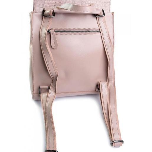 Городской кожаный рюкзак розового цвета с тиснением алигатора