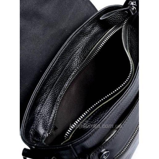 Мужская кожаная сумка черного цвета на одно отделение