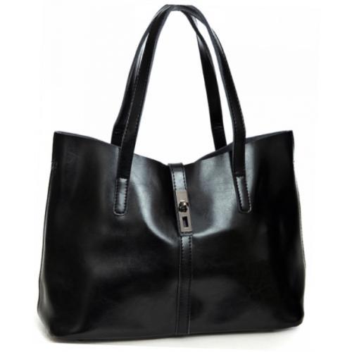 Женская кожаная сумка шоппер DO8327 Черный