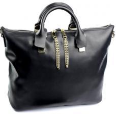 Женская кожаная сумка шопер черный DO-20-337