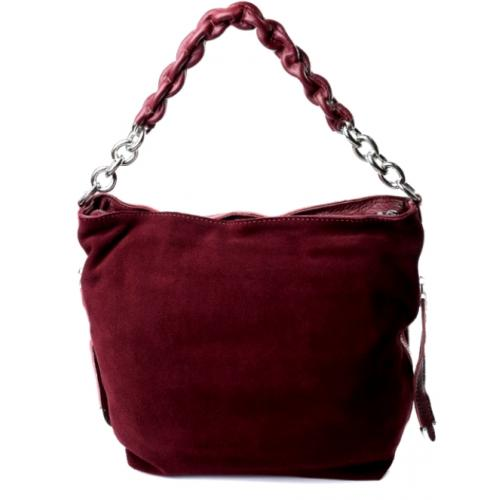Женская замшевая сумка бордовая 89D78-34