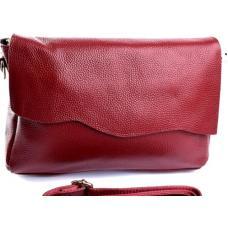 Женская кожаная сумка элегантного стиля вишневого цвета