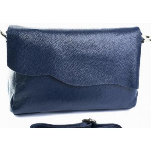 Женская кожаная сумка из натуральной кожи Синий