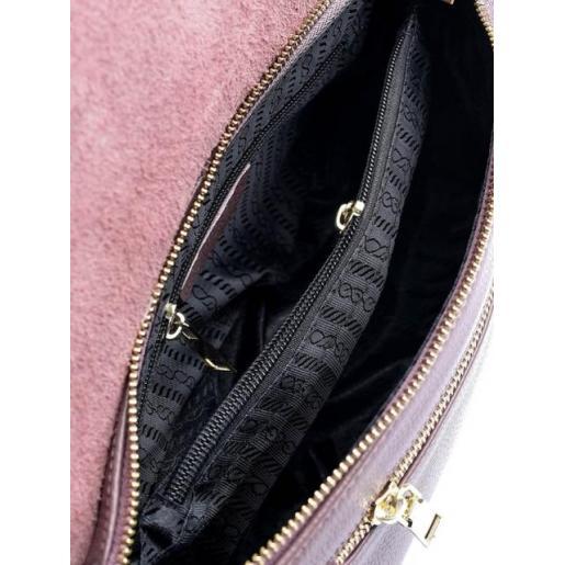 Городская кожаная сумка лавандового цвета из натуральной кожи
