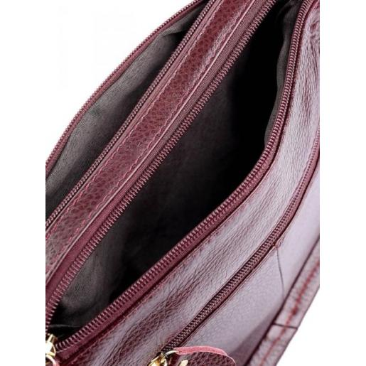 Женская повседневная сумка бордового цвета из натуральной кожи