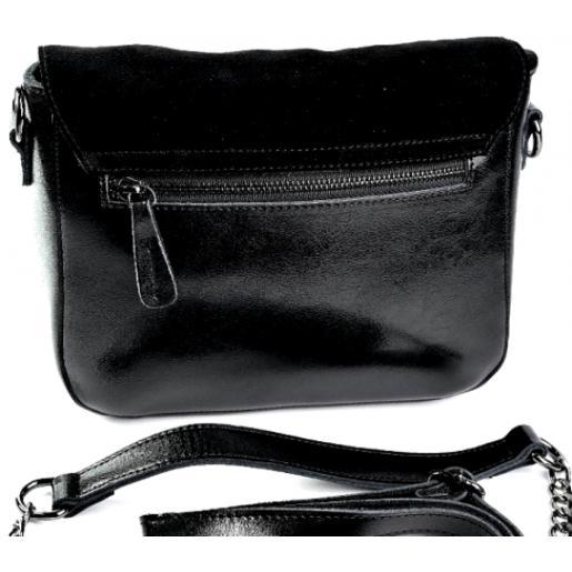Женский кожаный клатч из кожи и замши черный DO5060-1