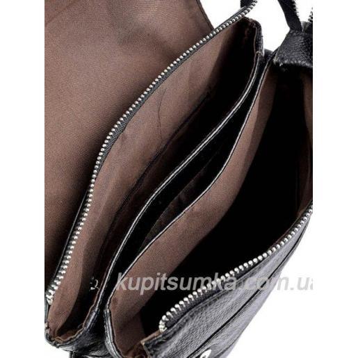 Мужская кожаная сумка черного цвета на два отделения