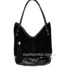 Вместительная женская сумка из кожзаменителя и натурального замша Чёрный