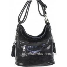 Женская сумка из кожзаменителя и натурального замша лазерной обработки Чёрный