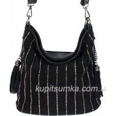 Женская сумка из кожзаменителя и замша Чёрный