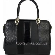 Женская сумка из кожзаменителя и замши черная