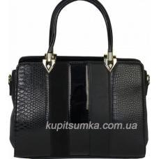 Женская сумка из кожзаменителя с элементами замшевых вставок
