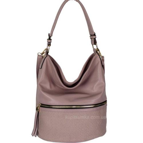 Женская сумка из розового кожзаменителя с передним карманом