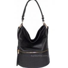 Женская сумка из чёрного кожзаменителя с передним карманом