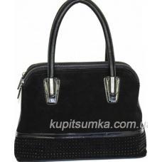 Классическая сумка чёрного цвета из кожзаменителя и натурального замша три отделения