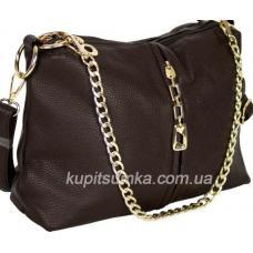 Комфортная сумка из кожзаменителя шоколадного цвета два отделения