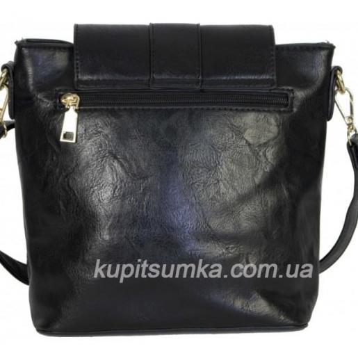 Чёрный клатч в стиле планшетки, с декоративной пряжкой и элементами перфорации