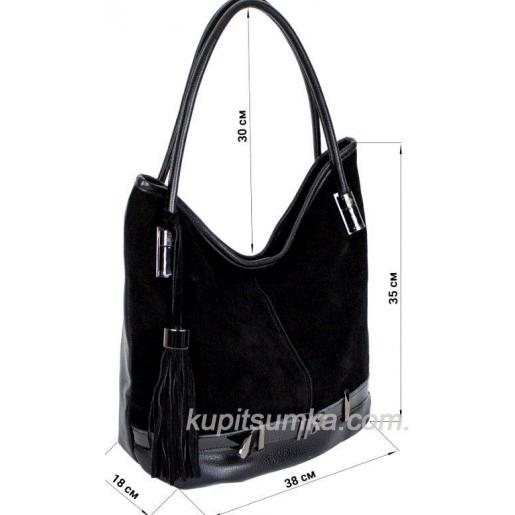 Женская сумка из кожзаменителя и натурального замша 54D-67 Чёрный
