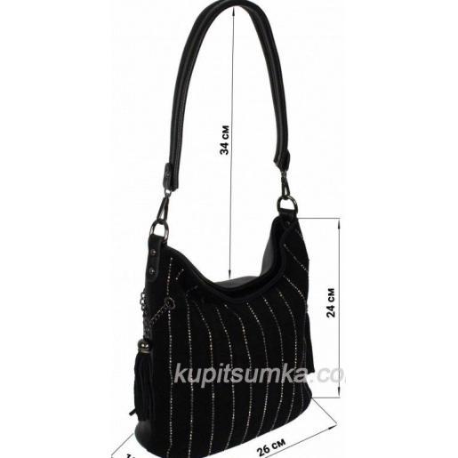 Женская сумка из кожзаменителя и замши черная 12D38