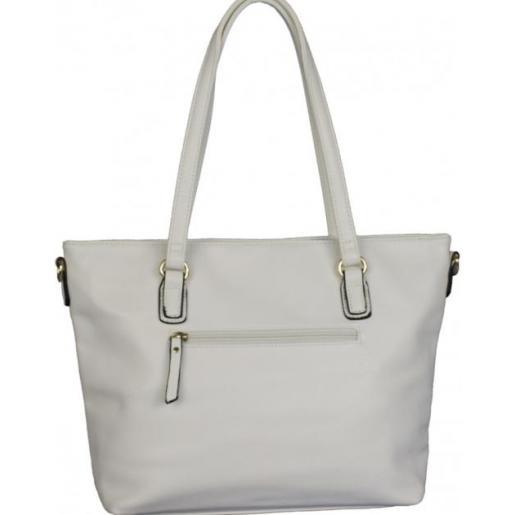 Женская сумка белого цвета из кожзаменителя с декором перфорации