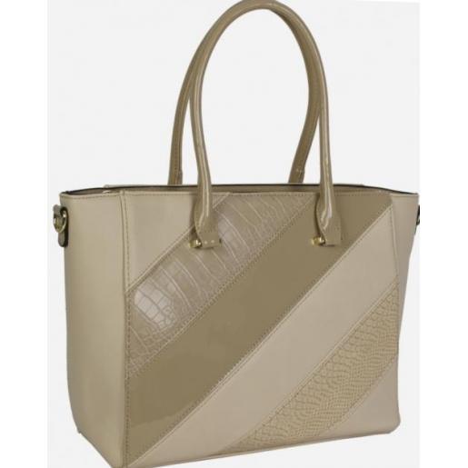 Элегантная женская сумка бежевого цвета из кожзаменителя