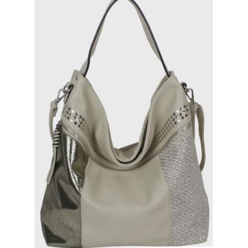 Современная женская сумка интересного дизайна бежевого цвета