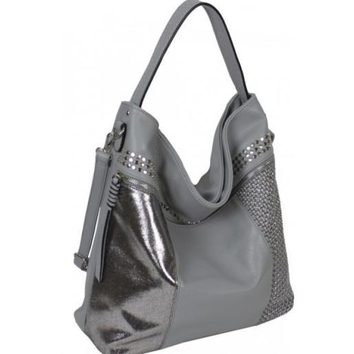 Женская серая сумка в стиле мешка стильного дизайна