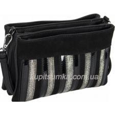 Женская сумка из кожзаменителя и натурального замша с тремя отделениями Чёрная