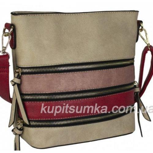 Женская сумка из кожзаменителя с разноцветными вставками
