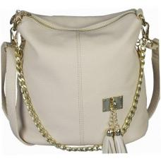 Женская сумка на плечо бежевого цвета из кожзаменителя