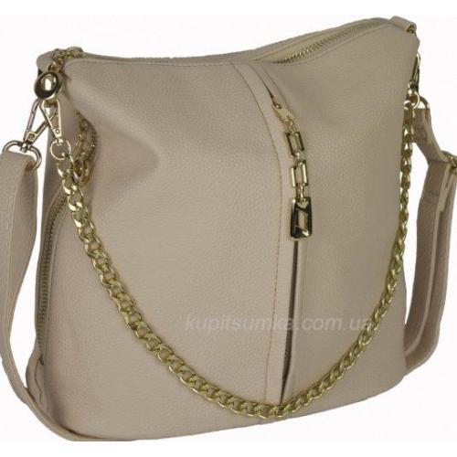 Женская сумка кросс-боди из кожзаменителя 0-02D-1 Бежевый