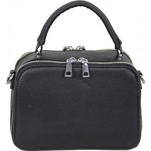 Женская небольшая сумочка из кожзаменителя черного цвета на два отделения