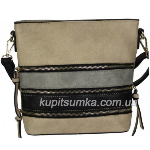 Повседневная сумка из кожзаменителя с серо - черными вставками