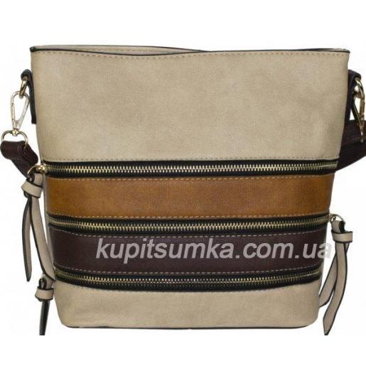 Повседневная сумка из кожзаменителя Бежевая с коричневым