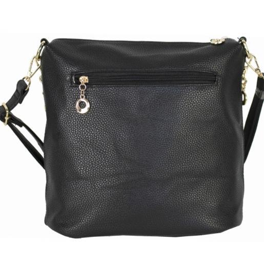 Женская черная сумка через плечо из кожзаменителя 0D002-1