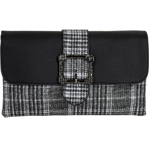 Современная женская сумка-клатч из кожзаменителя и шотландки