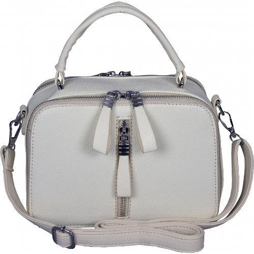 Оригинальная белая сумочка на два отделения из кожзаменителя
