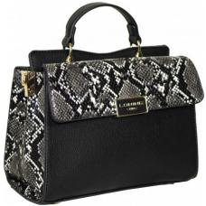 Каркасная черная сумочка из кожзаменителя с контрастной отделкой