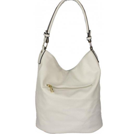 Женская сумка из белого кожзаменителя с передним карманом
