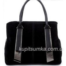 Деловая женская сумка з натуральной замши и кожзаменителя Чёрная