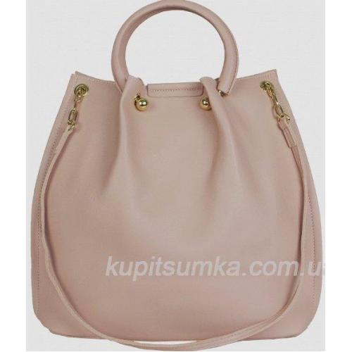 Женская розовая сумка на круглых ручках