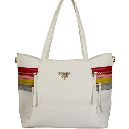 Женская сумка на плечо из кожзаменителя белая 31D38