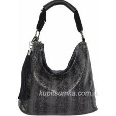 Женская сумка из кожзаменителя с экзотическим принтом Чёрная